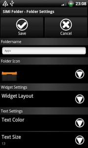 SiMi Folder Widget, настройка папок
