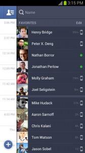 Facebook на андроид, список контактов